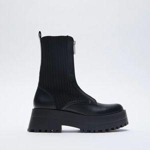 NWT. Zara Black Flat Ankle Boots. Size 7.5
